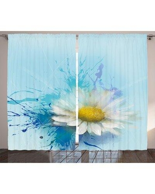New Deal On Red Barrel Studio Maytown Watercolor Flower Graphic Print And Text Semi Sheer Rod Pocket Curtain Panels Scst2368 Size Per Panel 54 W X 84 L