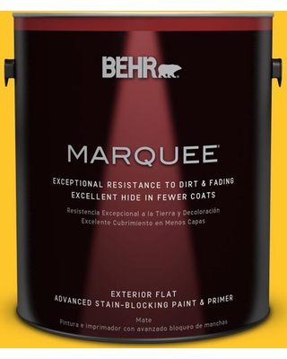 BEHR MARQUEE 1 gal. #330B-7 Sunflower Flat Exterior Paint and Primer in One
