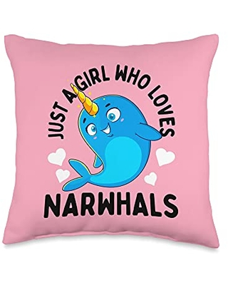 Unicorn Squad Goals Gift Store Just Loves Girls Narwhal Lover Gift Throw Pillow, 16x16, Multicolor