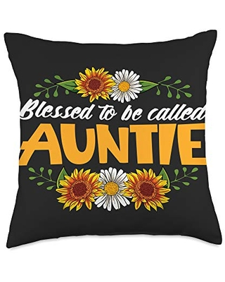 Funny Best Auntie Ever Gifts Idea For Auntie Blessed To Be Called Auntie Floral Sunflower Mother's Day Throw Pillow, 18x18, Multicolor