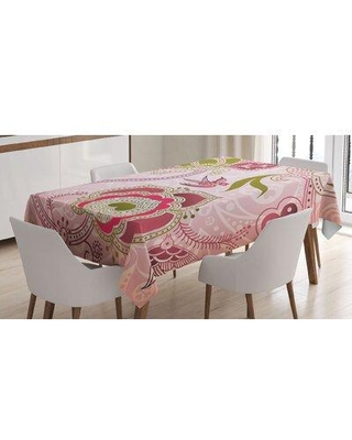 East Urban Home Floral with Scroll Swirl Leaf Lines Boho Artwork Tablecloth FCLQ8046