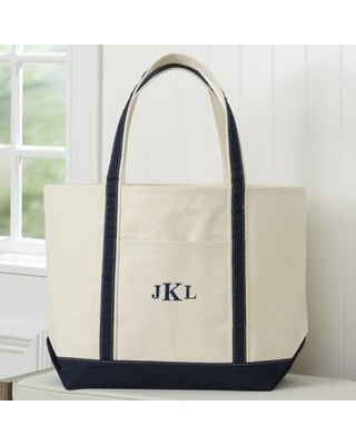 The Deluxe Weekender Embroidered Tote in Navy