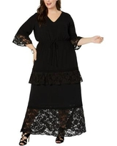 NY Collection Womens Lace Trim Maxi Dress, Black, 3XP