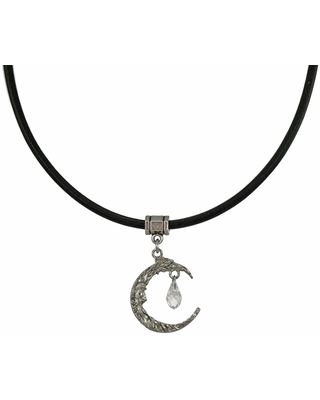 Handmade Jewelry by Dawn Antique Pewter Crescent Moon Leather Cord Necklace (USA) (18 Inch)