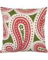 123 Creations Paisley Needlepoint Wool Throw Pillow C8.18x18 Color: Pink and Green