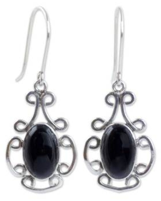 Artisan Crafted Black Jade and Sterling Silver Earrings