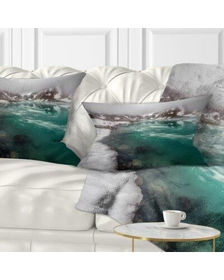 """East Urban Home Lake w/ Icy Topped Mountains Lumbar Pillow, Polyester/Polyfill/Polyester/Polyester blend in Gray/Silver, Size 12X20"""" 