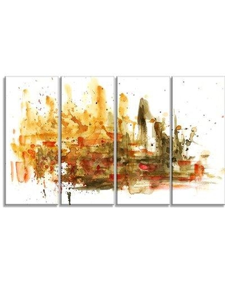 "Design Art Abstract Composition 4 Piece Painting Print on Wrapped Canvas Set, Canvas & Fabric in Brown, Size Medium 25""-32"" 