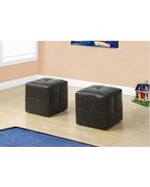 Kid's 2Pc Ottoman Set in Dark Brown Leather-Look - Monarch Specialty I-8160
