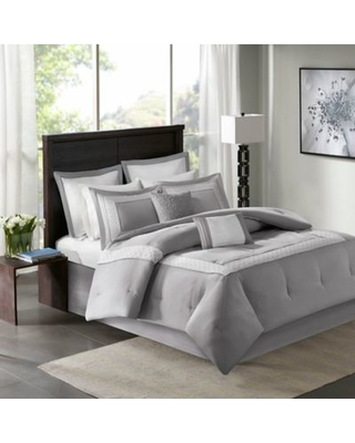 Madison Park Stratford 8-Piece California King Comforter Bedding Set with Bedskirt in Grey