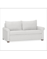 PB Deluxe Upholstered Sleeper Sofa, Polyester Wrapped Cushions, Denim Warm White