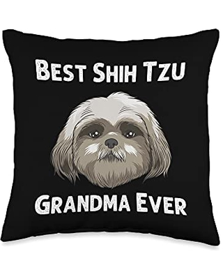Best Pup Breed & Little Lion Fur Floppy Presents Funny Shih Tzu Gift For Grandma Mama Dog Puppy Owner Animal Throw Pillow, 16x16, Multicolor