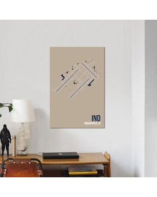 """East Urban Home Airport Diagram Series 'Indianapolis' Graphic Art Print on Wrapped Canvas URBH7001 Size: 40"""" H x 26"""" W x 0.75"""" D"""