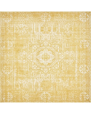 Unique Loom Tradition Bouquet Yellow 8' 4 x 8' 4 Square Rug