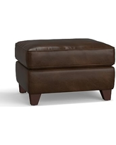 Cameron Leather Ottoman, Polyester Wrapped Cushions, Leather Vintage Cocoa