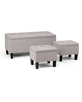 Amazing Deal On Simplihome Dover 44 Inch Wide Rectangle 3 Pc Lift Top Storage Ottoman In Upholstered Cloud Grey Linen Look Fabric Footrest Stool Coffee Table For The Living Room Contemporary