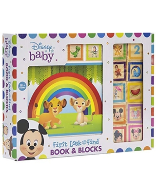Disney Baby Mickey, Minnie Mouse, Frozen and More! - 10 Wooden Blocks and Interactive First Look and Find Board Book Set - PI Kids