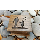 Father's day gift, music box with dad and daughter and butterflies engraved on top, personalized message