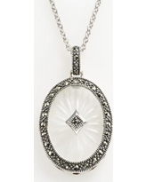 Lavish by TJM Sterling Silver Sunray Crystal Oval Frame Pendant - Made with Swarovski Marcasite, Women's, Grey