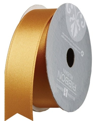 Jillson Roberts 1-Inch Double Faced Satin Ribbon Available in 21 Colors, Gold, 6 Spool-Count (FR1015)