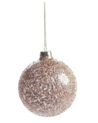 "Burnt Gold Beaded Holiday Ball Ornaments, Set of 6 (4"")"