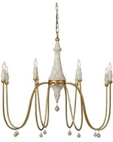 """Gabby 8 - Light Candle Style Classic/Traditional Chandelier w/ Beaded Accents, Wood/Metal in Gold, Size 37""""H X 42""""W X 42""""D 