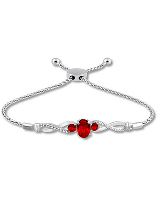 Lab-Created Ruby Bolo Bracelet Sterling Silver
