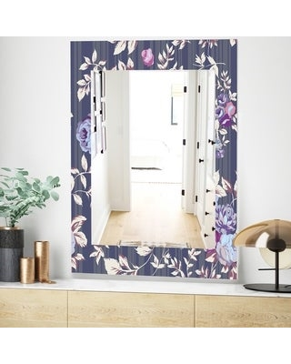 Shop Designart Blue Roses Traditional Mirror Frameless Wall Mirror 23 7 In Wide X 31 5 In High
