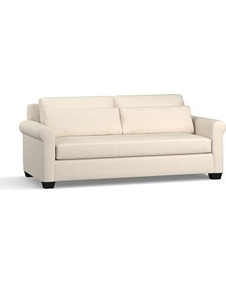 """York Roll Arm Upholstered Deep Seat Sofa 84"""" with Bench Cushion, Down Blend Wrapped Cushions, Sunbrella(R) Performance Sahara Weave Ivory"""