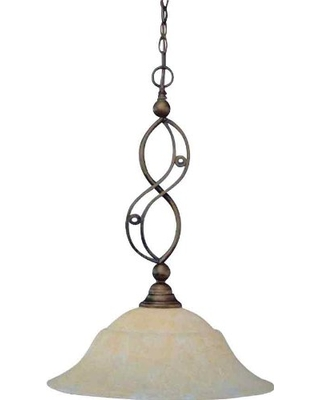 Toltec Lighting 231-BRZ-53813 Jazz One-Light Down light Pendant Bronze Finish with Amber Marble Glass, 20-Inch