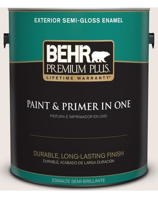 BEHR Premium Plus 1 gal. #PR-W12 Timid White Semi-Gloss Enamel Exterior Paint and Primer in One