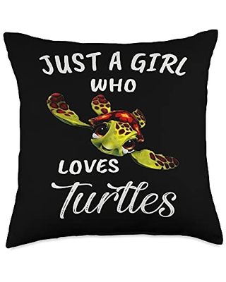 TeePrincess Cute Art Watercolor Just A Girl Who Loves Turtles Throw Pillow, 18x18, Multicolor