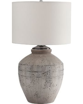 Maddox Ceramic Table Lamp, Rustic Gray Base With Medium Gallery Straight Sided Drum Shade, White
