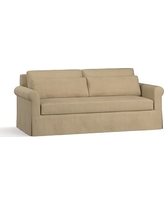 "York Roll Arm Slipcovered Deep Seat Sofa 84"" with Bench Cushion, Down Blend Wrapped Cushions, Performance Everydaysuede(TM) Light Wheat"