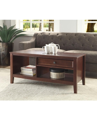 Linon Home Decor Wander 45 in. Cherry Large Rectangle Wood Coffee Table with Drawers, Red