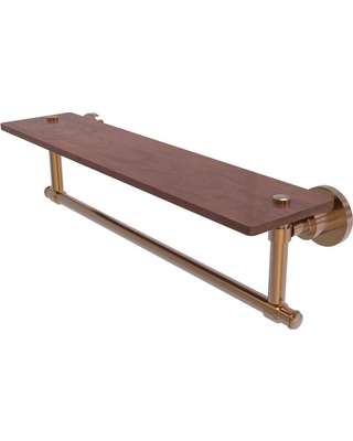 Allied Brass Washington Square Collection 22 in. Solid IPE Ironwood Shelf with Integrated Towel Bar in Brushed Bronze