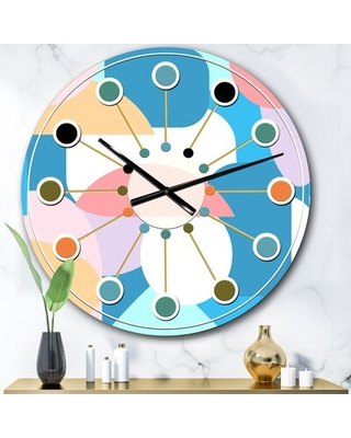 Oversized Geometrical Abstract II Mid-Century Wall Clock East Urban Home Size: Large