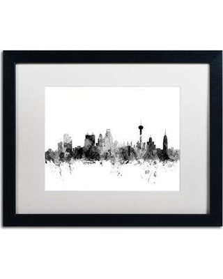 "Trademark Fine Art 'San Antonio Texas Skyline B&W' Framed Graphic Art Print on Canvas MT1063-B1114MF / MT1063-B1620MF Size: 16"" H x 24"" W x 0.5"" D"