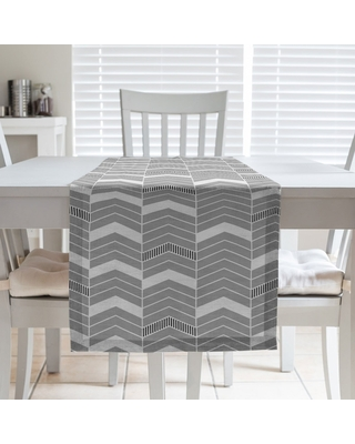Color Accent Lined Chevrons Table Runner (16 x 90 - Polyester - Orange Accent)