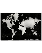 """Trademark Art 'World Map 13' Graphic Art Print on Wrapped Canvas ALI15512-C Size: 16"""" H x 24"""" W"""