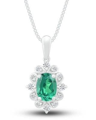 Jared The Galleria Of Jewelry Lab-Created Emerald & Lab Created Sapphire Necklace Sterling Silver