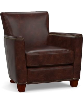 Irving Square Arm Leather Recliner with Bronze Nailheads, Polyester Wrapped Cushions, Legacy Tobacco
