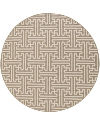 """Alfresco ALF9599-73RD 7'3"""" Round 100% Polypropylene Rug with No Shedding Easy Care Low Pile Loop Texture and Machine Made in Egypt in Beige and"""