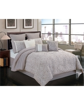 9pc Queen Winthrop Comforter Set Gray & Ivory - Riverbrook Home, Gray White