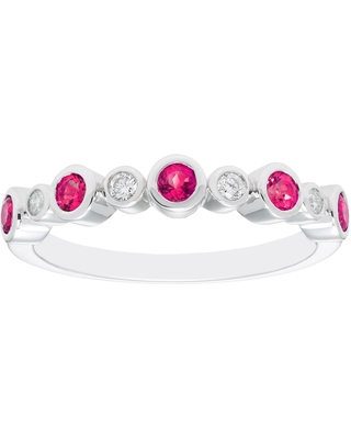 Sterling Silver Created Ruby & Diamond Ring (9)