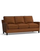 Tyler Leather Sofa with Bronze Nailheads, Down Blend Wrapped Cushions, Leather Signature Maple