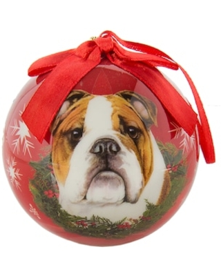 CueCuePet Christmas Tree Ornaments Red Ball, Dog Collection Bulldog (ORNDOG003)   Quill