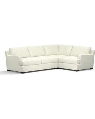 Townsend Square Arm Upholstered Left Arm 3-Piece Corner Sectional, Polyester Wrapped Cushions, Performance Slub Cotton Ivory