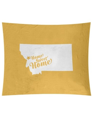 """Home Sweet Missoula Tapestry East Urban Home Size: 68"""" H x 80"""" W, Color: Yellow"""