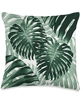 AestheticDesigns Aesthetic Green Monstera Plant Throw Pillow, 16x16, Multicolor